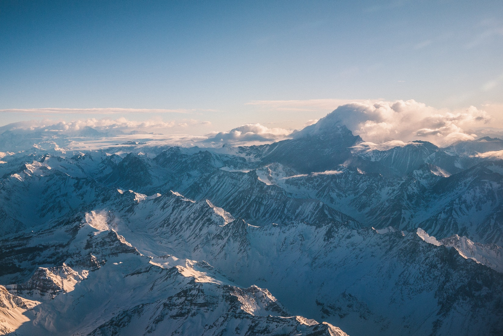 Bird eye view of the Andes in Argentine