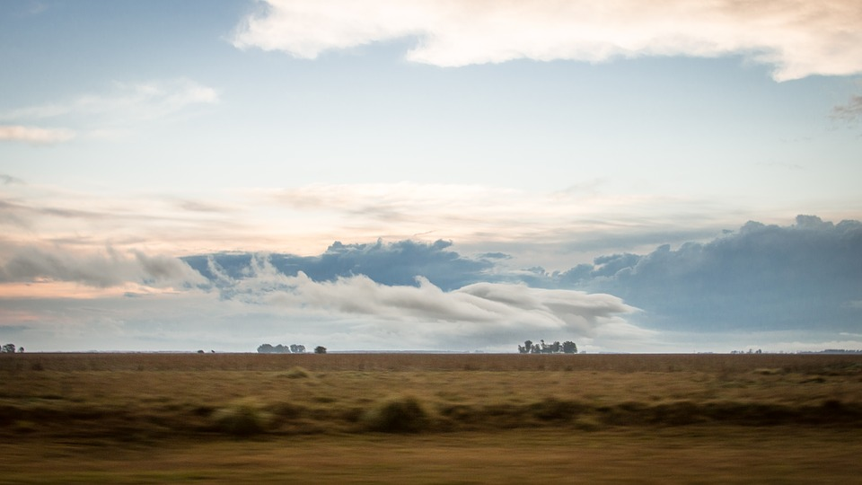 Argentinian plains with a cloudy sky