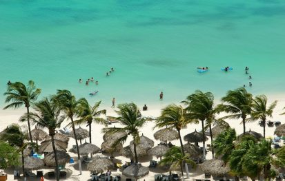 Beach on the island of Aruba with palm trees and turquoise water