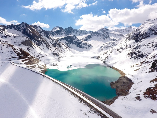 A lake in a snowy valley