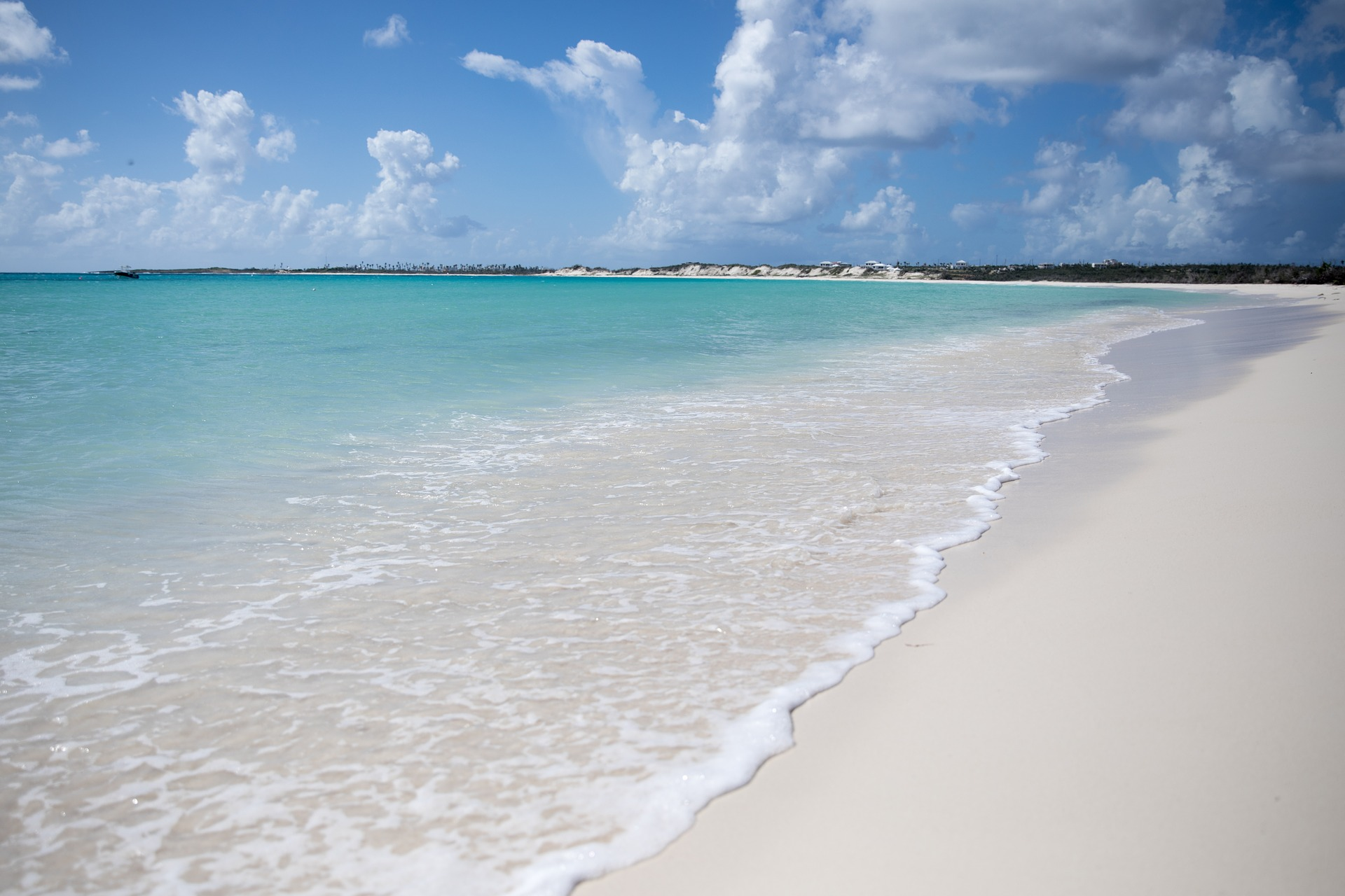 Anguilla beach with turquoise blue water carribean
