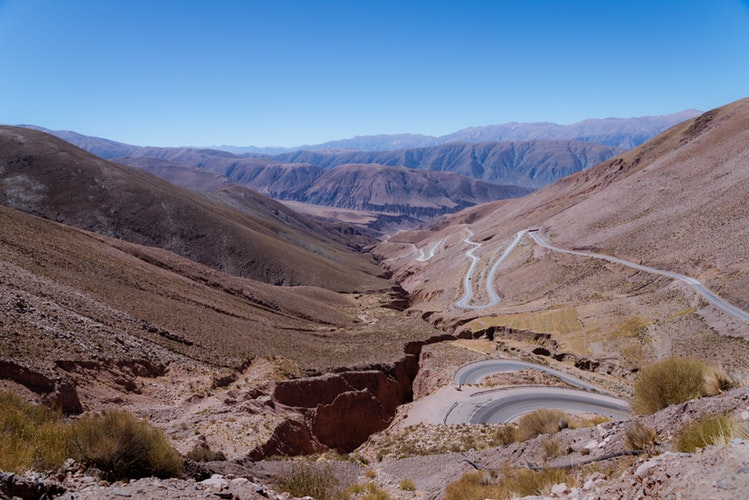 Road zig-zagging down a valley in Argentine