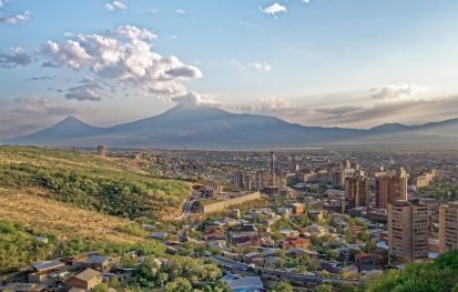 Bird eye view of Yerevan with mountains in the distance