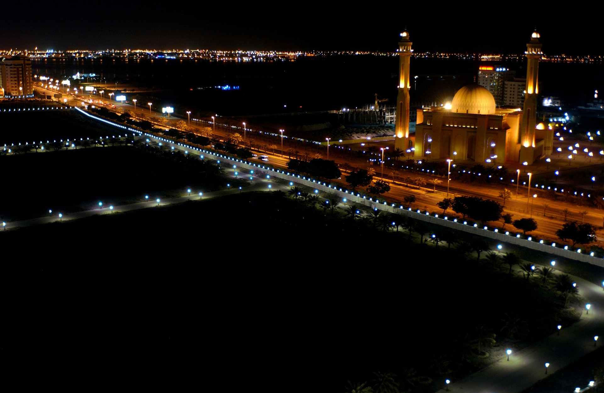 Skyline view of Bahrain Mosque at night