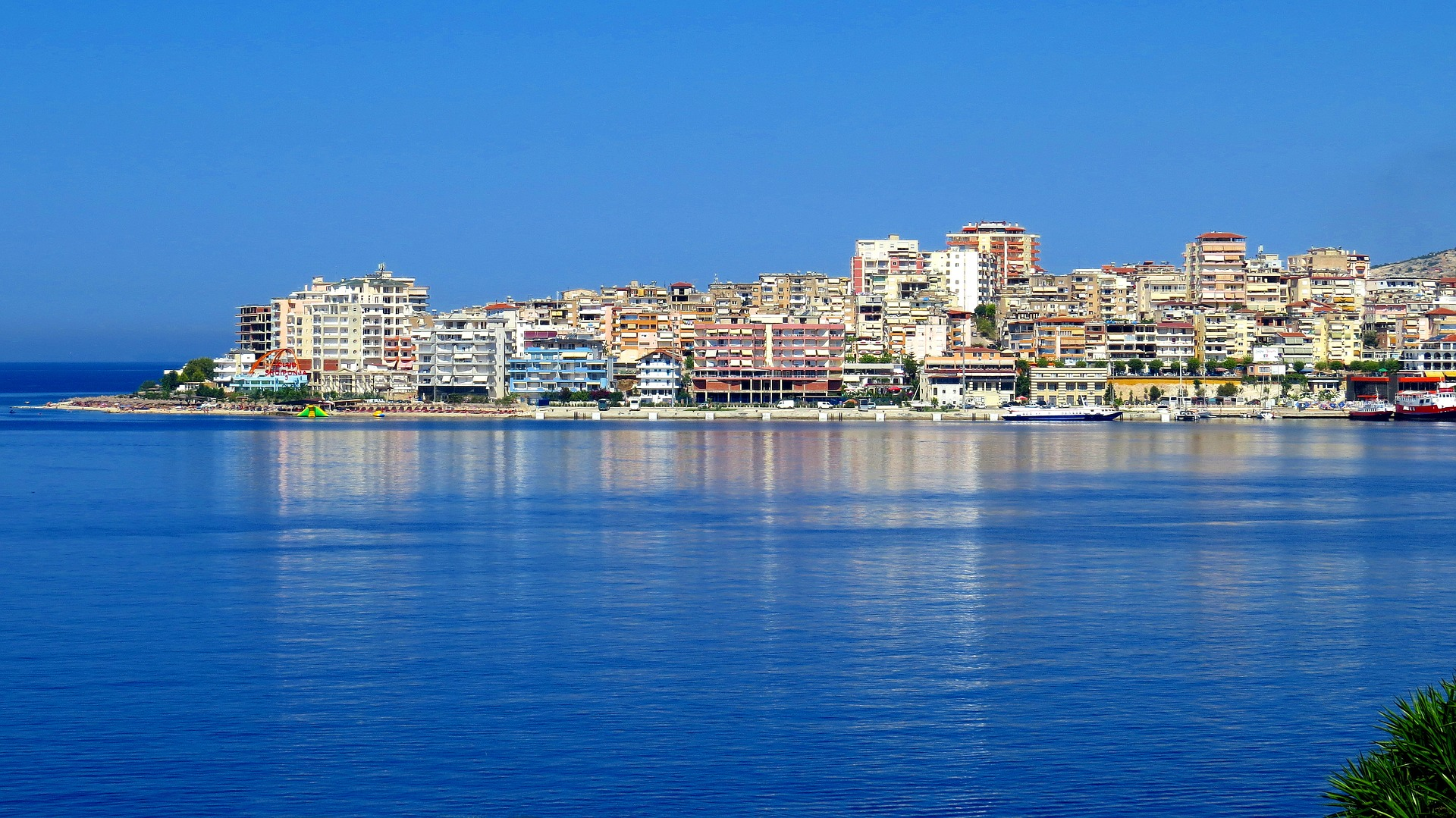 Skyline of an Albanian city with partial view on the coast