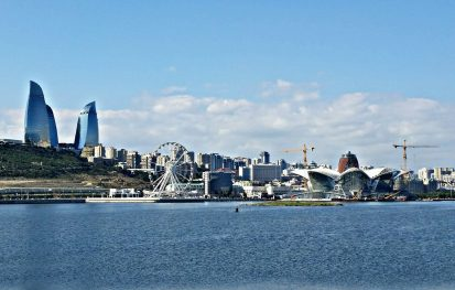 View on the city of Baku and its coastline