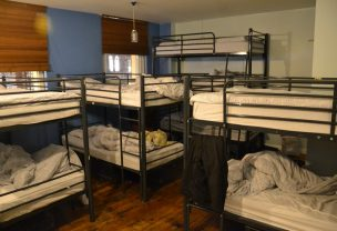 Bunk beds inside a hostel room