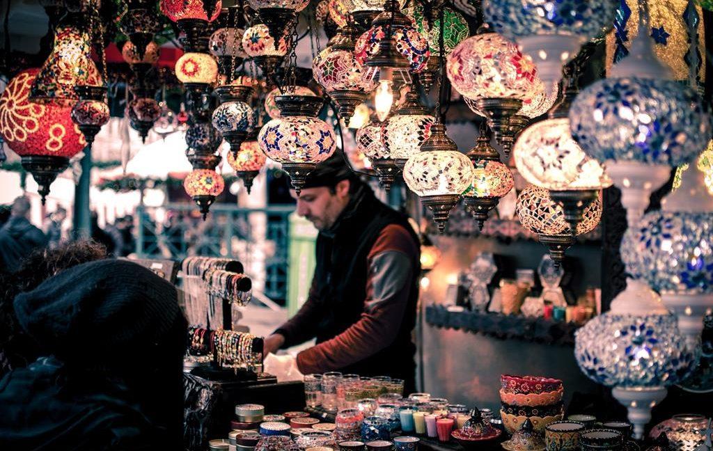 Image of a local merchant at a bazaar