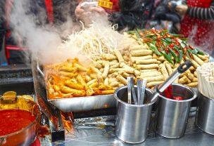 Image of street food in metal dishses