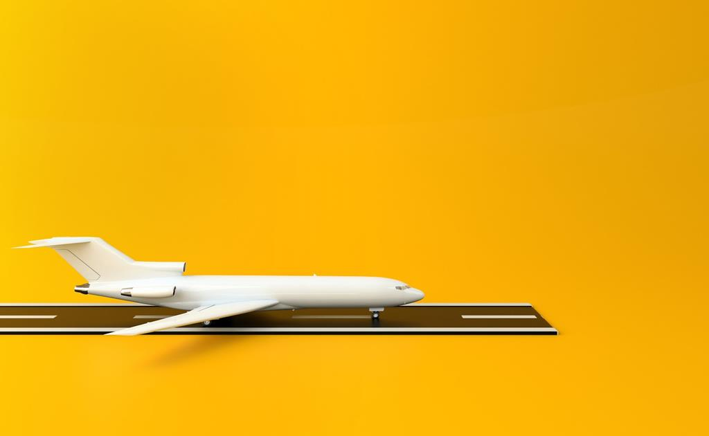 3d renderer illustration. Airplane with runway on yellow background. Travel concept.