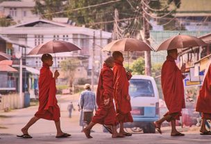 Image of monks crossing the road