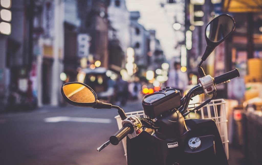 Image of a scooter in parked in a street